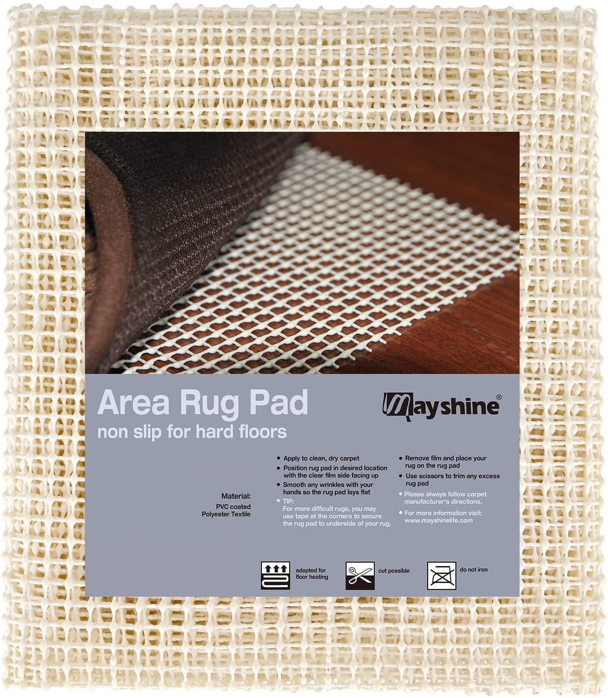 MAYSHINE Area Rug Gripper Pad (4x6 Feet), for Hard Floors, Provides Protection and Cushion for Area Rugs and Floors