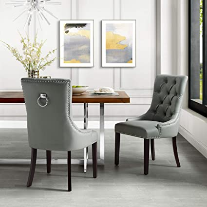 Amazoncom Inspiredhome Light Grey Leather Dining Chair Design