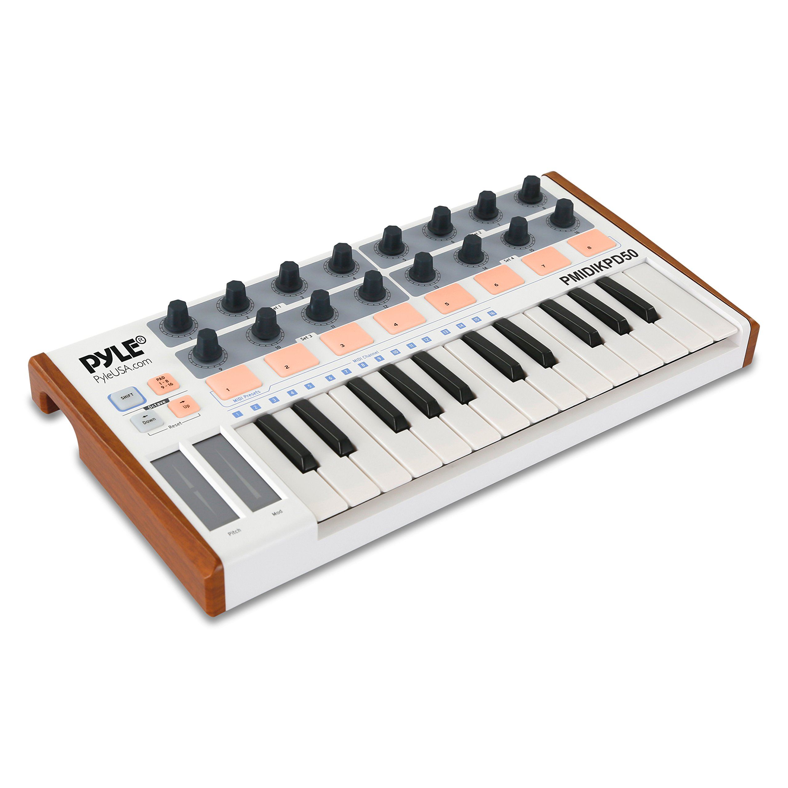 Pyle USB MIDI Keyboard Controller - Portable Recording Equipment Kit w/ 25 Synth Piano Keys, 8 Drum Beat Pads, 16 DJ Fader Knobs - Mini Hardware Buttons Control any Electronic Music DAW - PMIDIKPD50