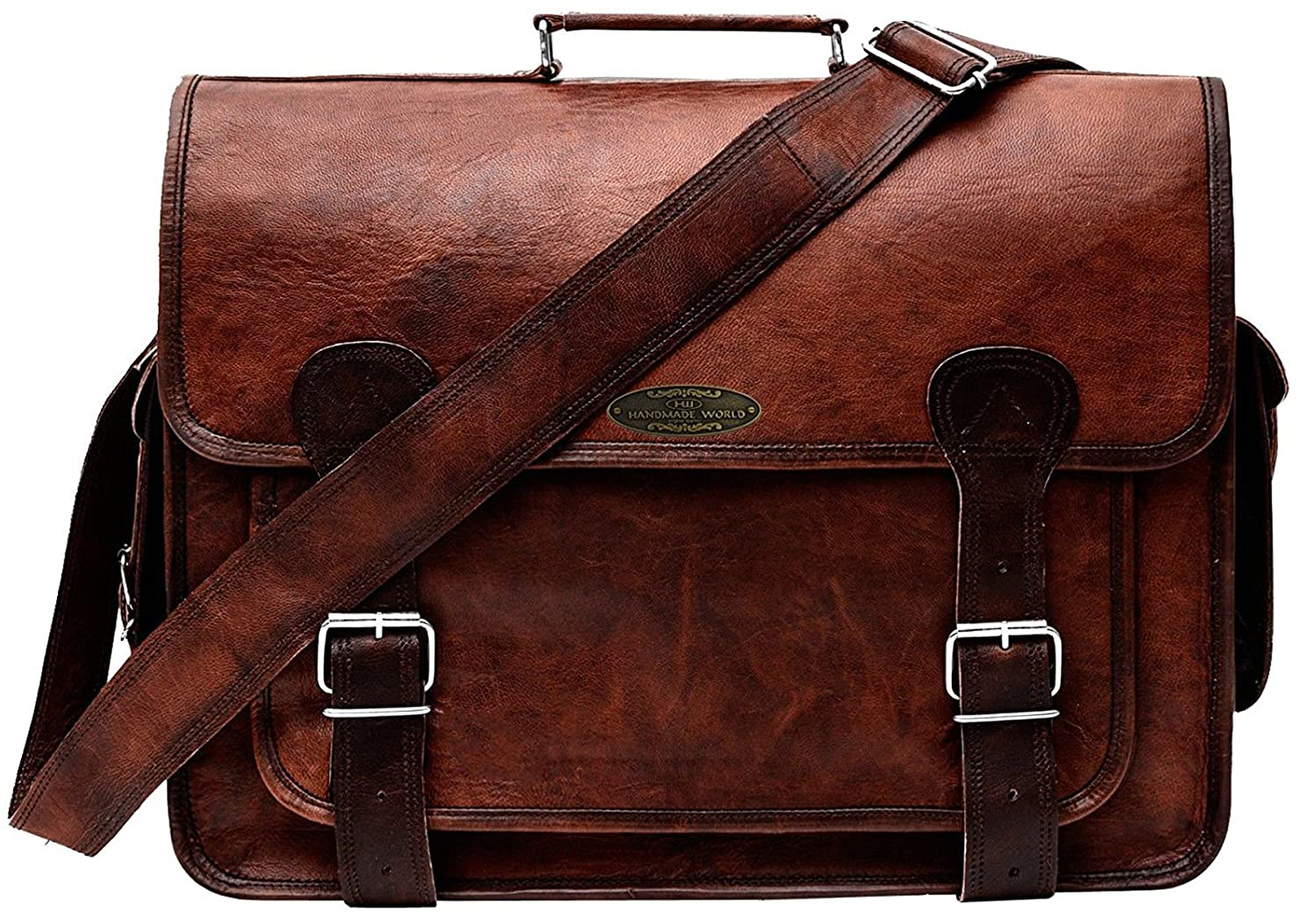 10528a0ab692 Handmade World Brown Leather Messenger Bag for Men 18 inch Big Women  Shoulder Cross Body Brown Laptop Computer Briefcase Bag - Best Vintage Look