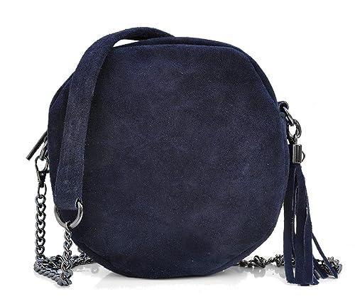 21d1dbf25d Jade&Lo Petit Sac Rond Tendance - Femme - Croûte de cuir Veau Velours (type  daim, nubuck) avec bandoulière chaîne - Bleu ...