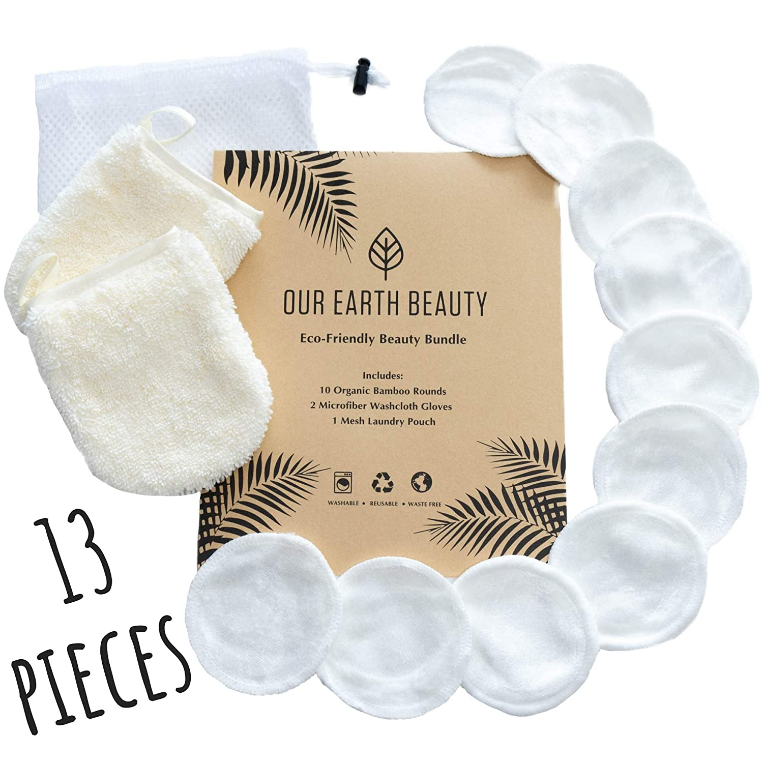 Reusable Makeup Remover Pads and Microfiber Face Cleansing Gloves   12 Pack with Laundry Bag   100  Organic Bamboo Velvet   Eco-friendly   Waste Free   Luxury