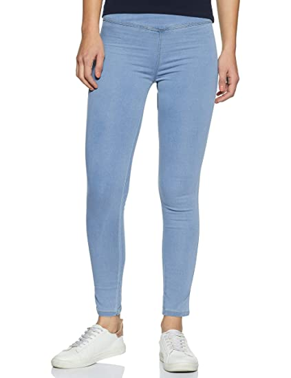 80d8e418b0771 Miss Chase Women's Light Blue Skinny Jeggings: Amazon.in: Clothing ...