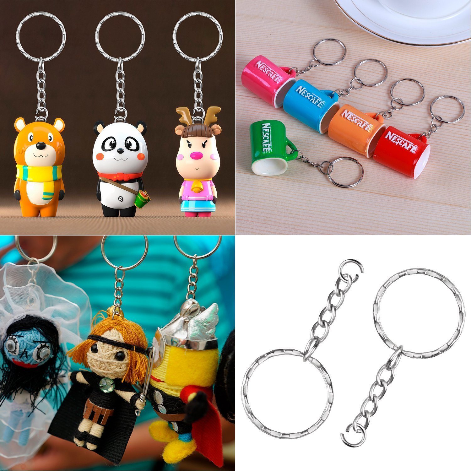 1 Inch//25mm 200Pcs Keychain Rings with Chain and 200Pcs Jump Ring with 200Pcs Screw Eye Pins Bulk for Jewelry Findings Making Auwoo 600Pcs Sliver Key Chain Rings Kit