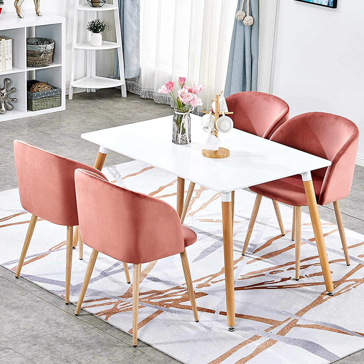White Velvet Dining Occasional Chairs