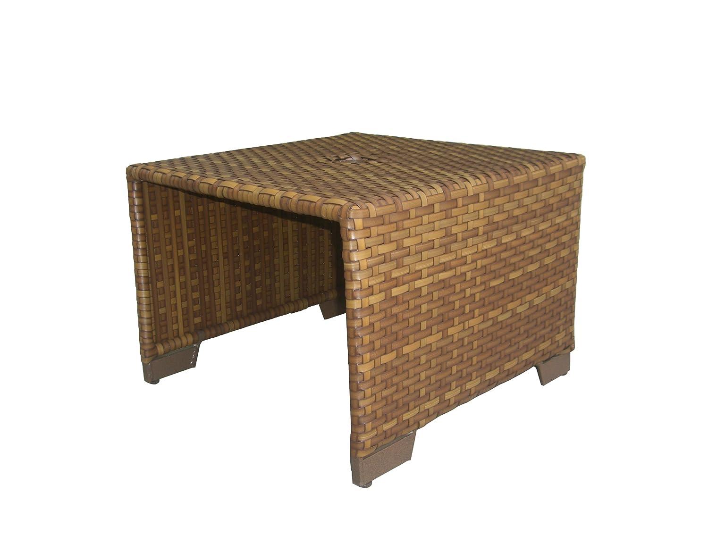 Amazon com panama jack st barths coffee table with woven umbrella hole viro fiber brown pine finish garden outdoor