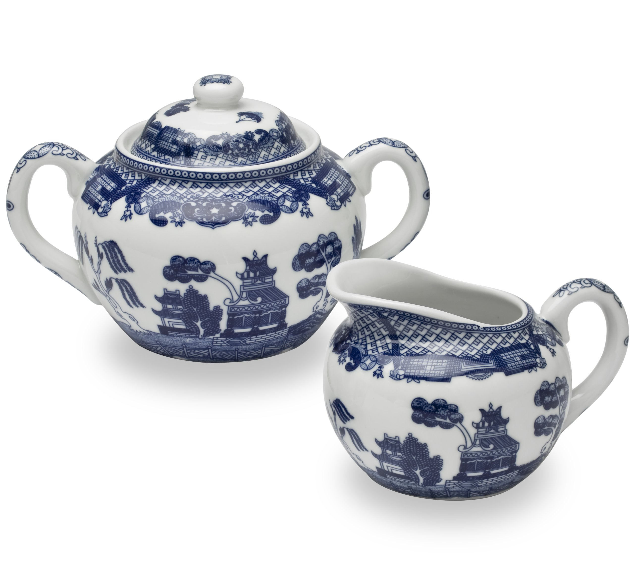 HIC Harold Import Co. YK-329 HIC Blue Willow Creamer Dispenser and Sugar Bowl with Lid, Fine White Porcelain, 3 Piece Set by HIC Harold Import Co.