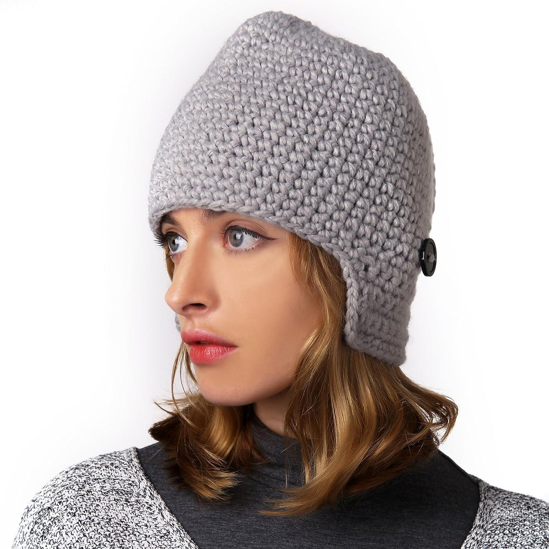 Benmashun Hat Unisex Knitted Cap Roman Knight Helmet Visor Beanie (Grey)   Amazon.co.uk  Clothing 1537fc7dd8
