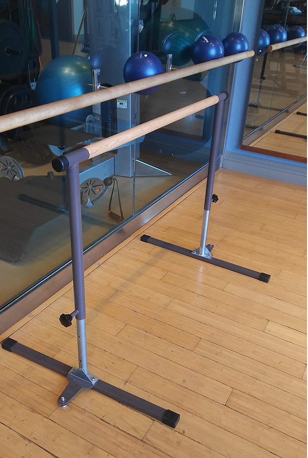 Adjustable Height 27 to 48 Ballet Barre Portable with Wood Rail 48 Long Bonus Free Stretch Band