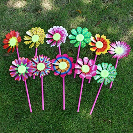 Ladaidra 10Pcs Flower Windmill,Windmill Kid Toys Sunflower Yard Garden  Ornaments Colorful Outdoor Spinner