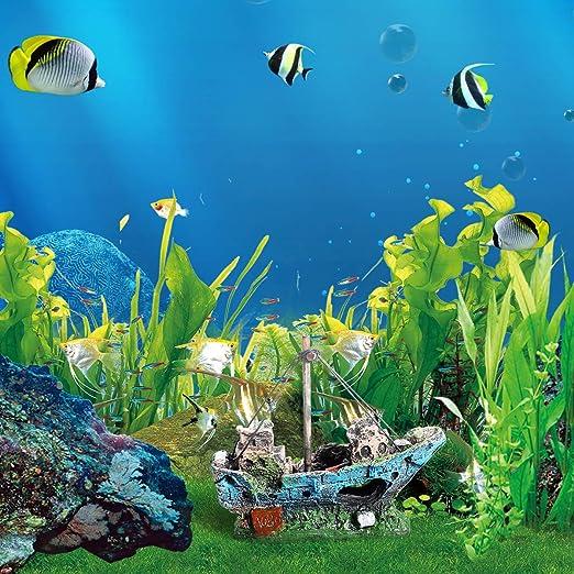 UEETEK Barco Acuario, barco Corsair Barco a vela hundido para decoración de acuarios, ideal para pequeños peces camarón tortuga: Amazon.es: Productos para ...