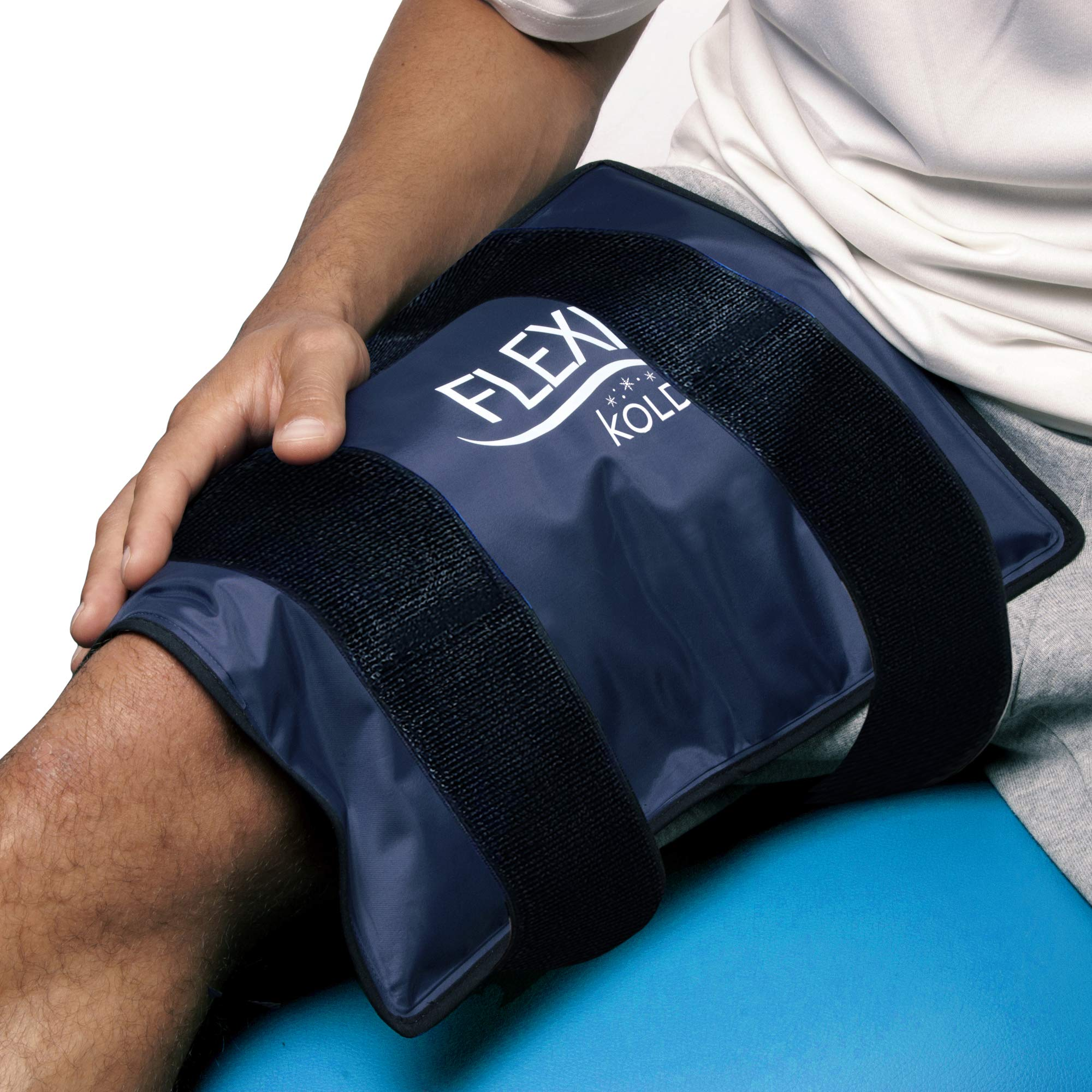 FlexiKold Gel Ice Pack w/Straps (Standard Large: 10.5'' x 14.5'') - One (1) Reusable Cold Therapy (for Pain and Injuries, wrap Around Knee, Shoulder, Back, Ankle, Neck, Hip, Wrist) - 6300 Cold-Strap