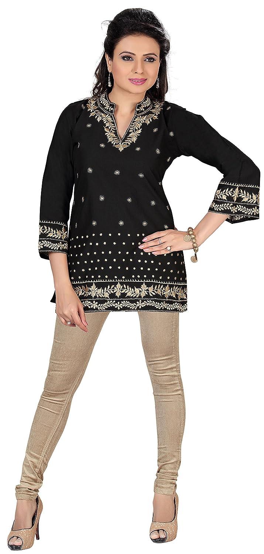 Indian Tunic Top Kurti Womens Embroidered Cotton Silk Kurta India Clothing
