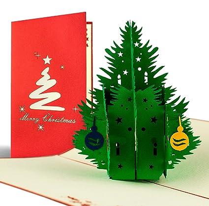Árbol de Navidad Como tarjeta pop-up con bolas de navidad ...
