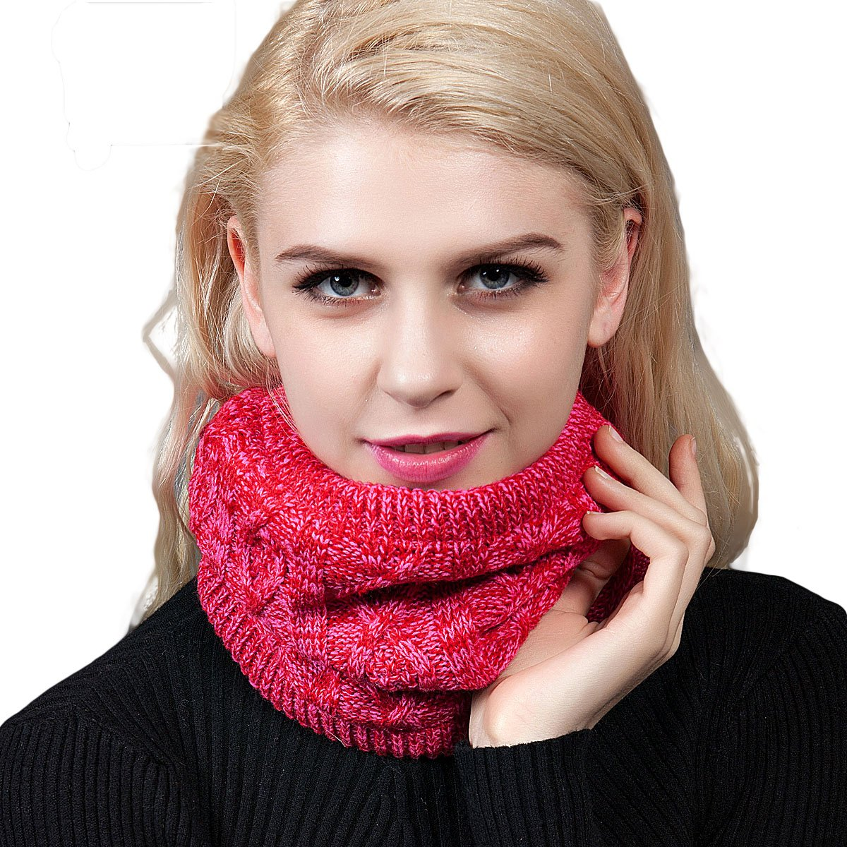 Roffatide Unisex Harsh Winter Double-Layer Soft Fleece Lined Thick Knit Neck Warmer Circle Scarf Windproof