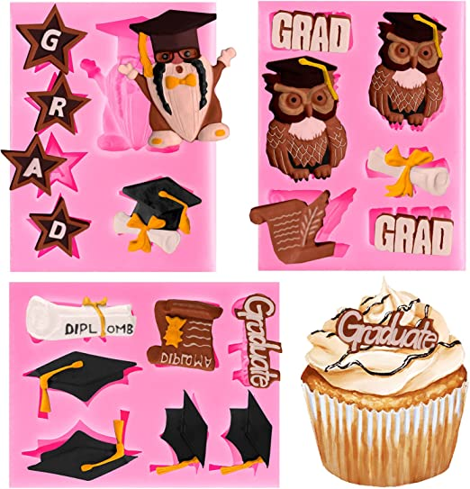 Whaline 3 Pack Graduation Silicone Molds Graduation Owl Gnome Grad Cap Diploma Scroll Chocolate Candy Mould Congrats Grad Fondant Mold for Grad Party Cake Cupcake Topper Decoration