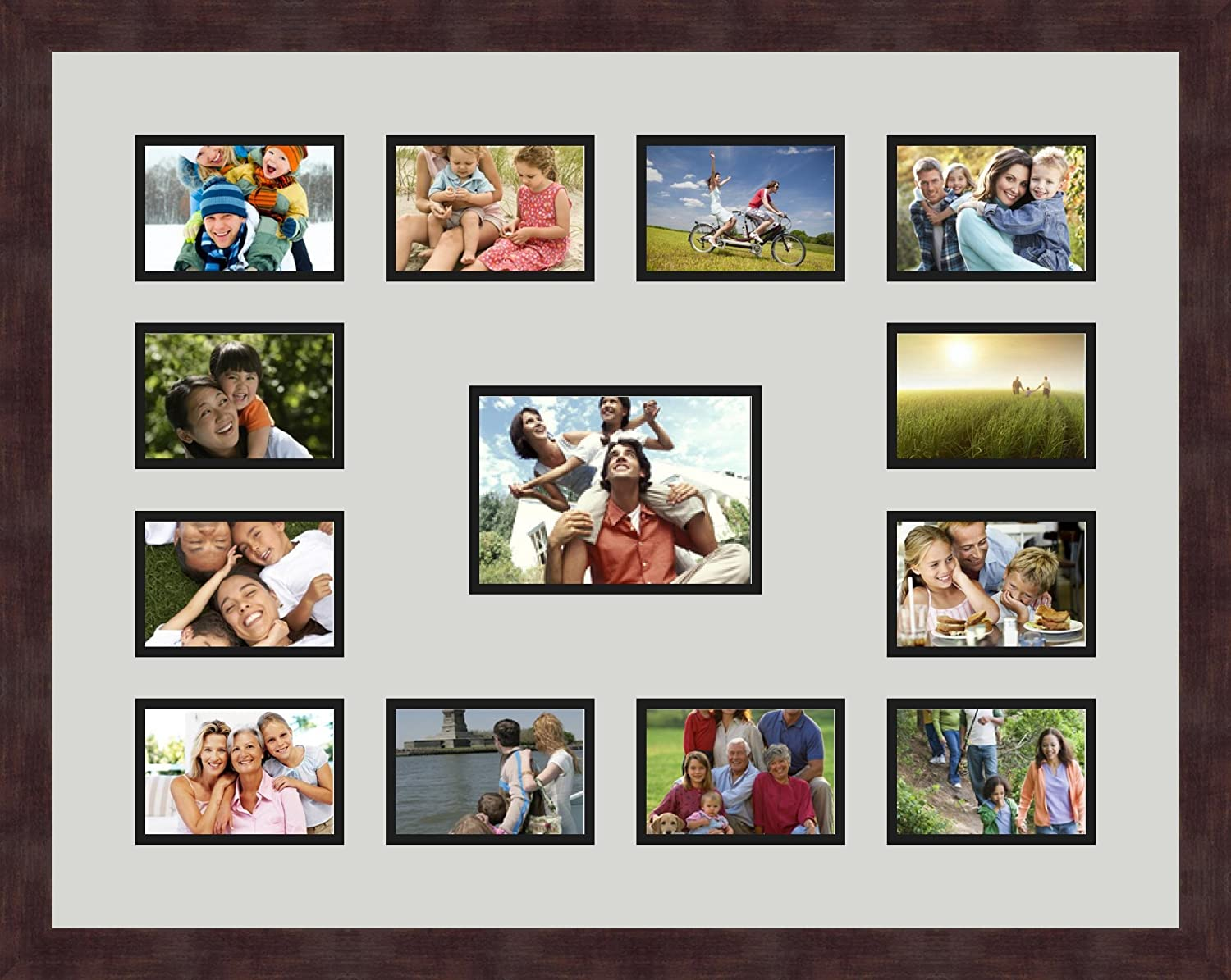 Art to Frames Double-Multimat-612-716//89-FRBW26061 Collage Frame Photo Mat Double Mat with 12-3.5x5 and 1-5x7 Openings and Espresso Frame