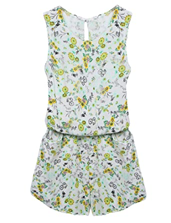 35afe066f49 Amazon.com  ACEVOG Women Crewneck Elastic Waist Cut Out Back Pocket Romper  Jumpsuit Playsuit  Clothing