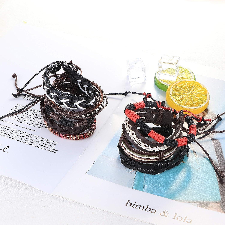 Milacolato 30 Pcs Bracelet en Cuir Tress/é pour Hommes Femmes en Bois Perl/é Manchette Wrap Bracelet Ethnique Tribal Bracelets R/églable