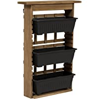 Best Choice Products 3-Tier Outdoor Rustic Wooden Vertical Wall Mount Planter (Brown)