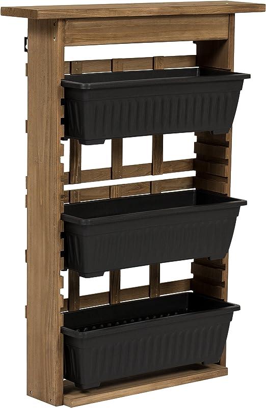 Mejor elección productos al aire libre rústico de madera jardín Vertical soporte de pared soporte para maceta: Amazon.es: Jardín
