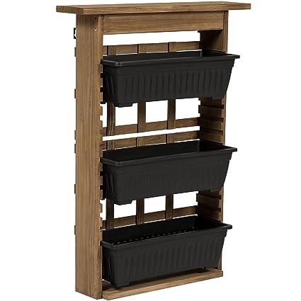 Best Choice Products 3 Tier Outdoor Rustic Wooden Garden Vertical Wall Mount Planter Brown