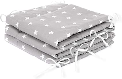 Handmade Cot Bar Bumpers Set Of 8 White With Grey Stars