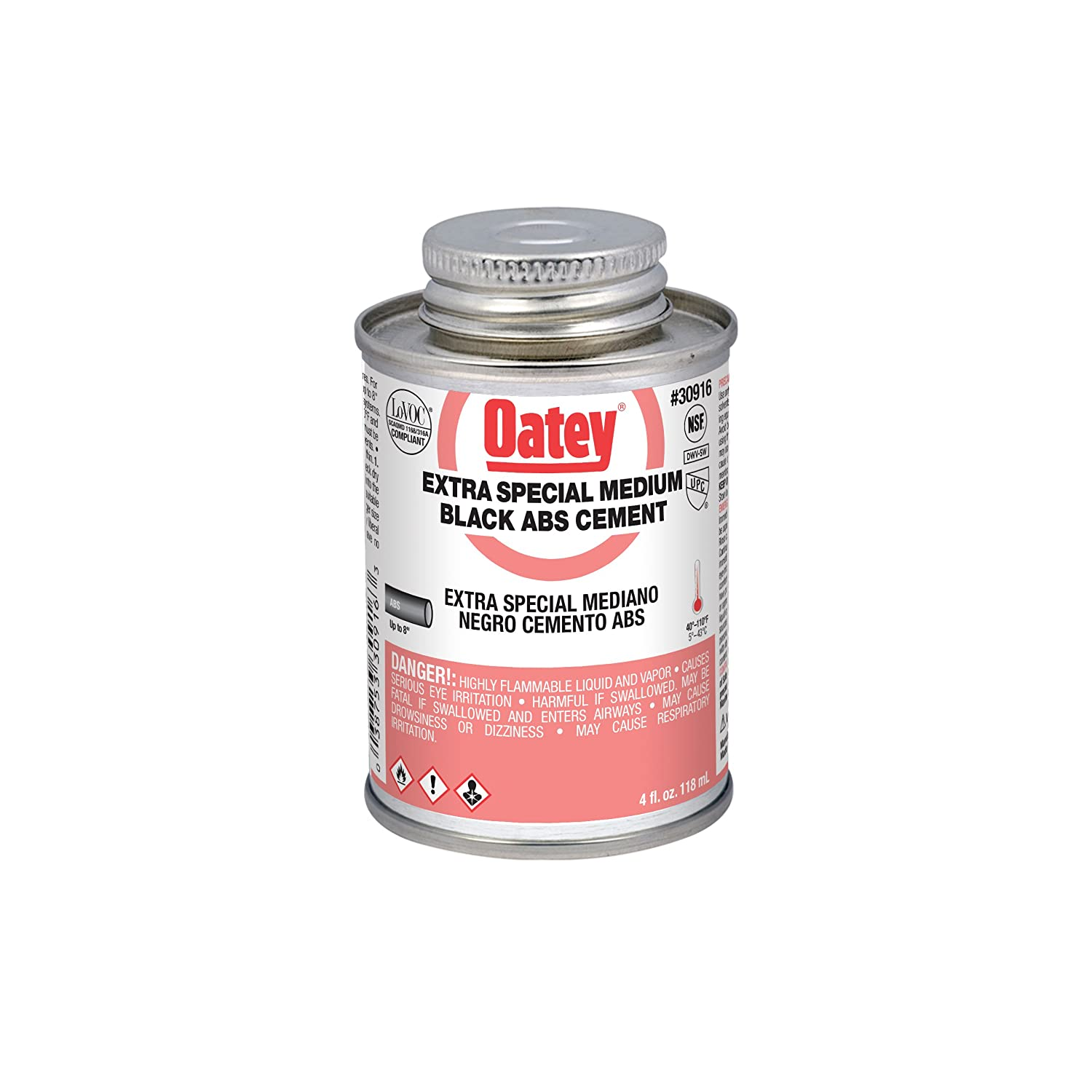 Oatey 30916 ABS Extra Special Cement, Black, 4-Ounce, 4 oz,