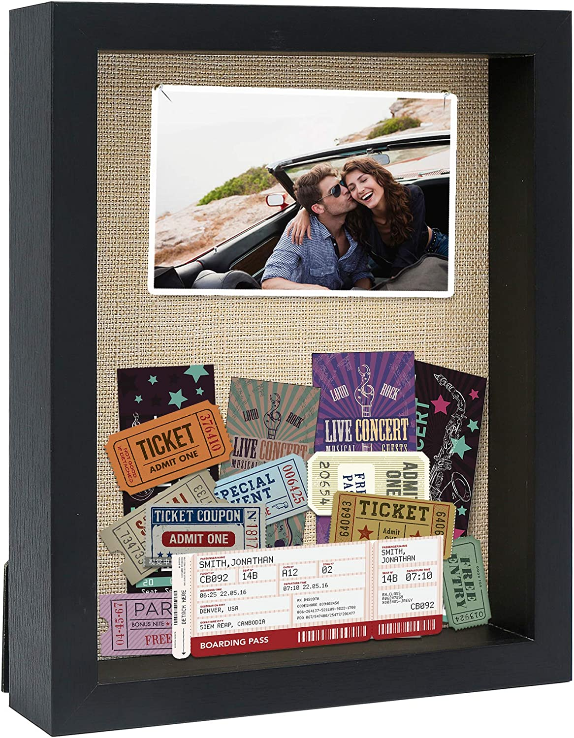 PKaL 8 x 10 Shadow Box Frames - Shadow Box Display Case for Memorabilia Keepsake with Stick Pins - Memory Shadow Box for Wedding,Baby,Sports Medal,Game Ticket,Picture, Flower, Wood Shadow Box(Black)