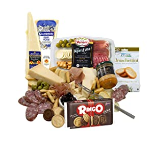 GiftWorld Italian Meat & Cheese Gift Basket – Delicious Cheese Sampler Imported from Italy – Prosciutto, Provolone, Parmigiano Reggiano, Grana Padano, Olives, Bruschettini – Cheese Knife – Father's Day Gift Over 2 Lbs.