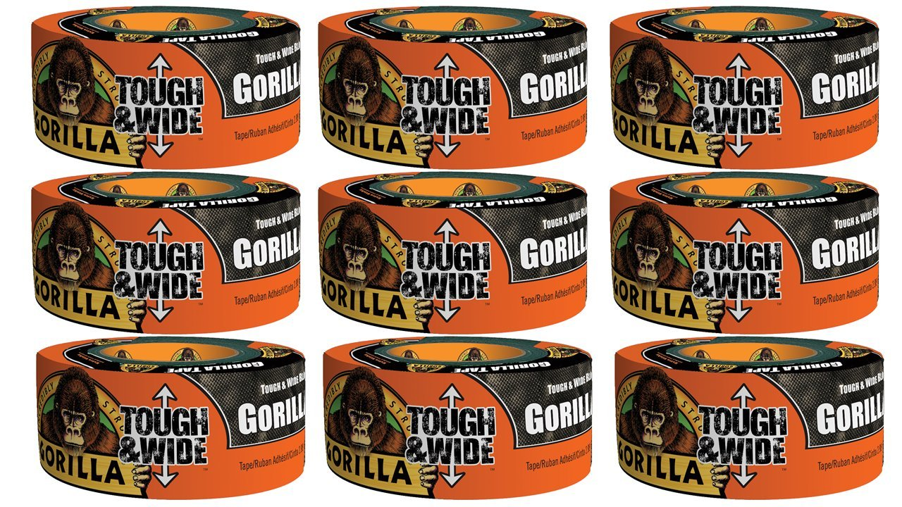 Gorilla Tape, Black Tough & Wide Duct Tape, 2.88'' x 30 yd, Black, (Pack of 9) by Gorilla (Image #6)