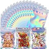 Renrenle - Bolsas de 100 unidades, 15,5 x 7,9 pulgadas, resellables, a prueba de olores, bolsas holográficas planas con cierr