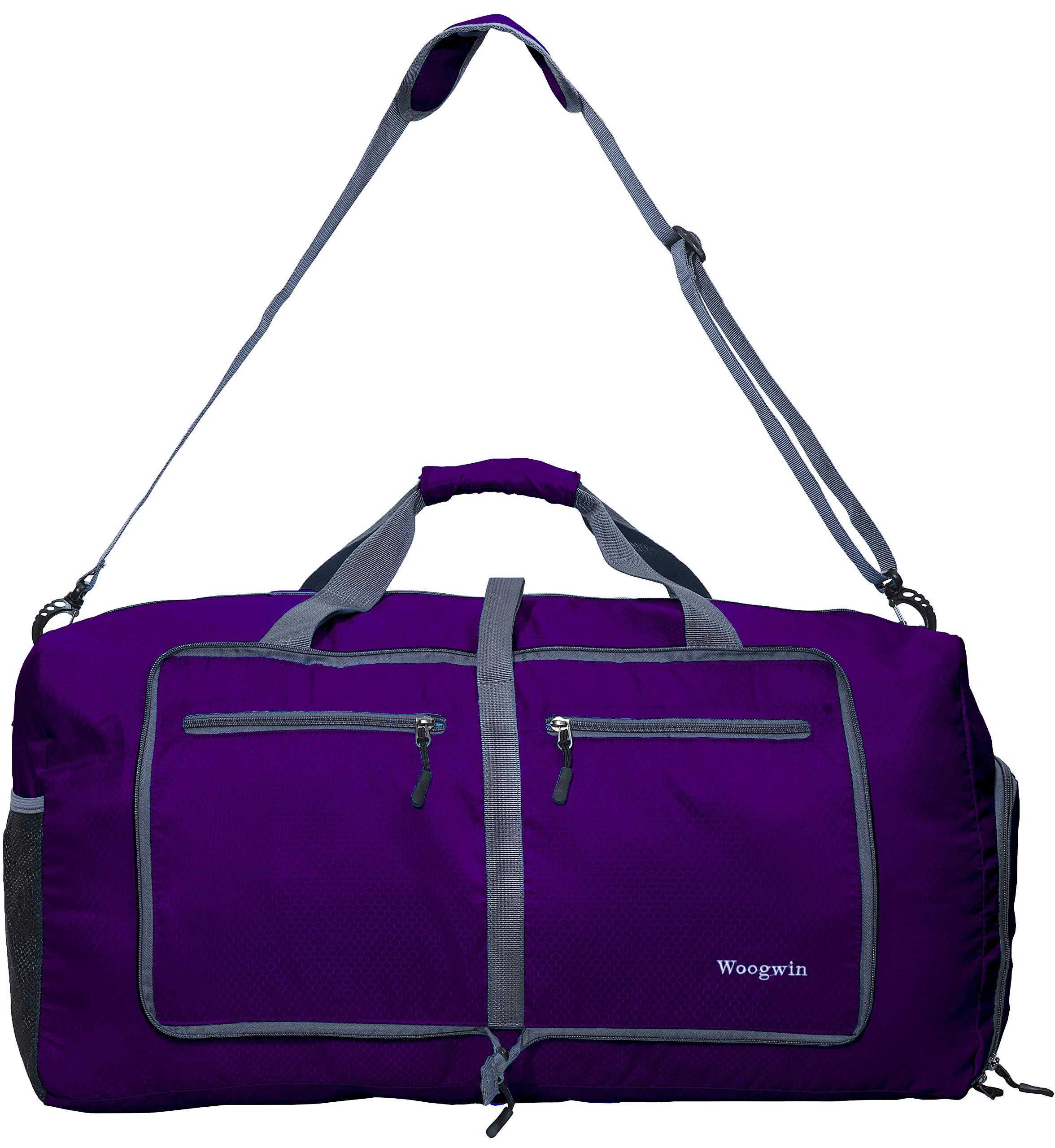 Woogwin Travel Duffel Bag Womens & Mens Large Foldable Duffle Sports Gym Bags (purple)