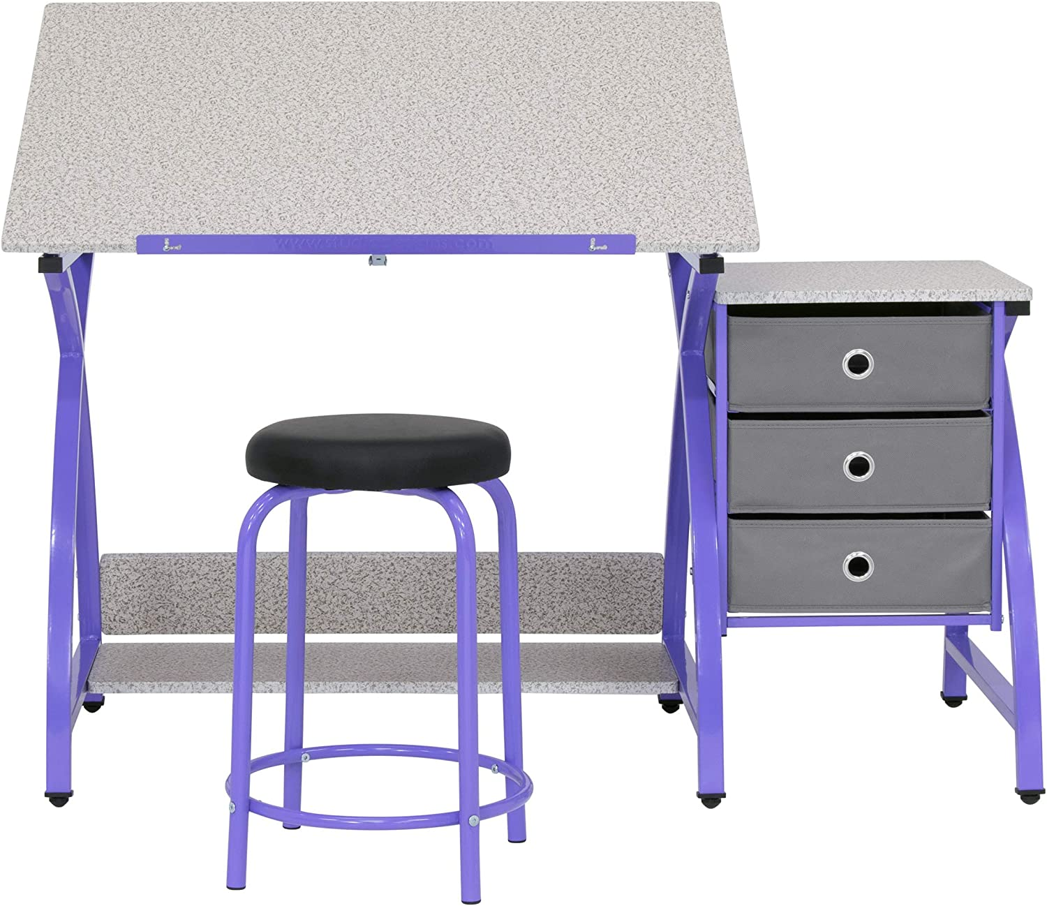 SD STUDIO DESIGNS 2 Piece Comet Center Plus, Craft Table and Matching Stool Set with Storage and Adjustable Top, Purple/Spatter Gray