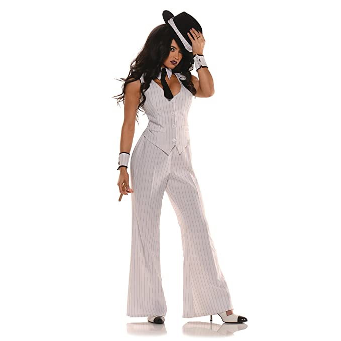 1930s Costumes- Bride of Frankenstein, Betty Boop, Olive Oyl, Bonnie & Clyde Womens Mob Boss Costume White/Black $40.12 AT vintagedancer.com
