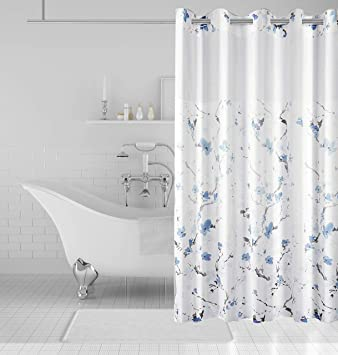 Eacolle Shower Curtain Hookless Bathroom Curtains Snap In Liner Bathtub With