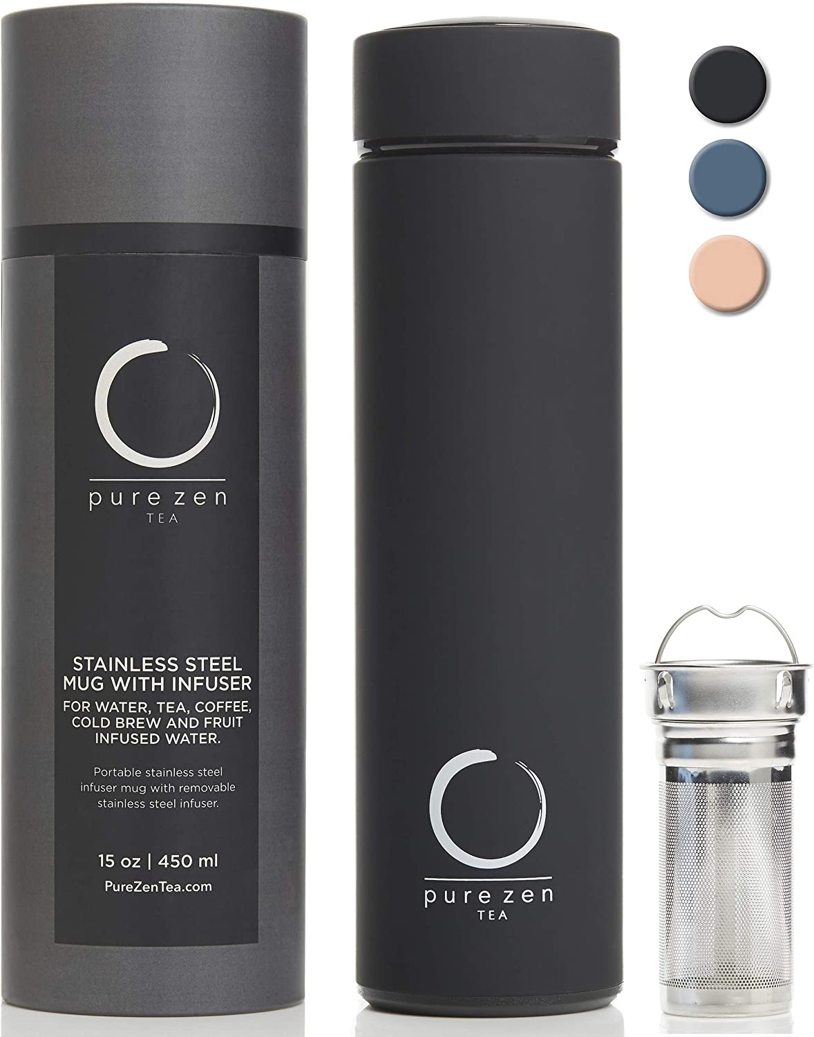 Pure Zen Tea Thermos with Infuser - Stainless Steel Insulated Tea Infuser Tumbler for Loose Leaf Tea, Iced Coffee and Fruit-Infused Water - Leakproof Tea Tumbler With Infuser - 15oz - Black