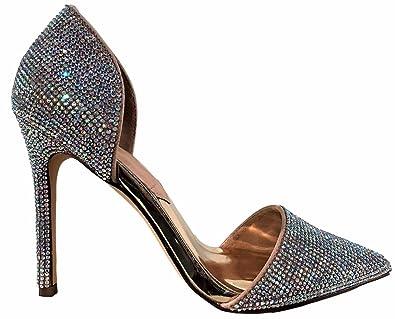 31db8ebc5a62 Liliana Selina-31 Pointed Toe Rhinestone Crystal Bling Stiletto Heel Pump  Shoe Silver 7.5