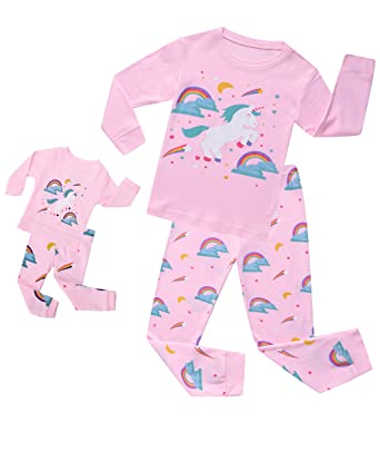 7478d66104 Amazon.com  Girls Unicorn Pajamas Sleepwear Clothes Matching Doll   Girls  Pajamas 100% Cotton PJS for Toddlers Children Kids  Clothing