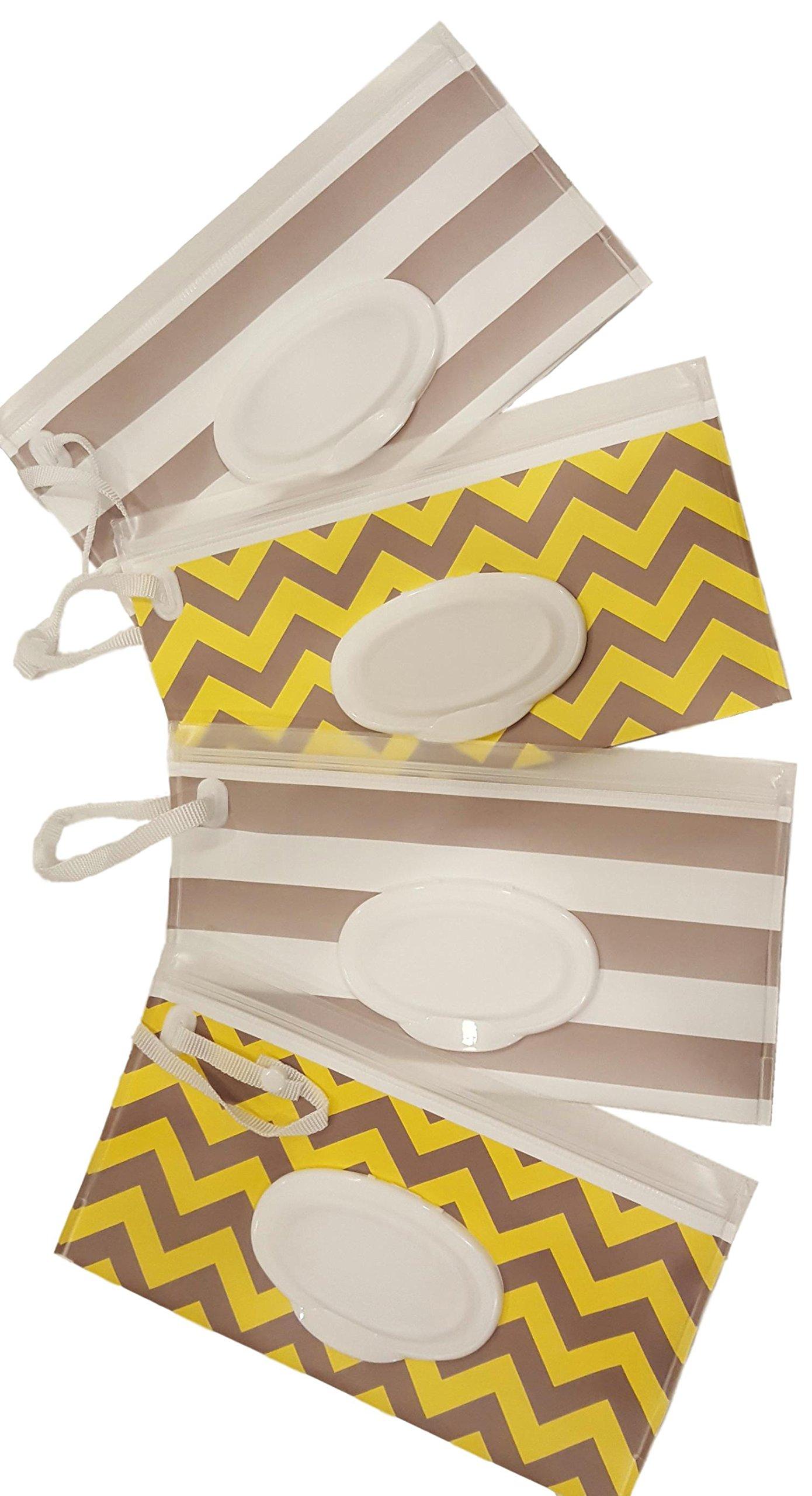 Little Stinker 4 Pack Baby Wipe Case Holder - Keeps Wipes Moist - Premium Wetwipe Cases - 2 White 2 Yellow by Little Stinker