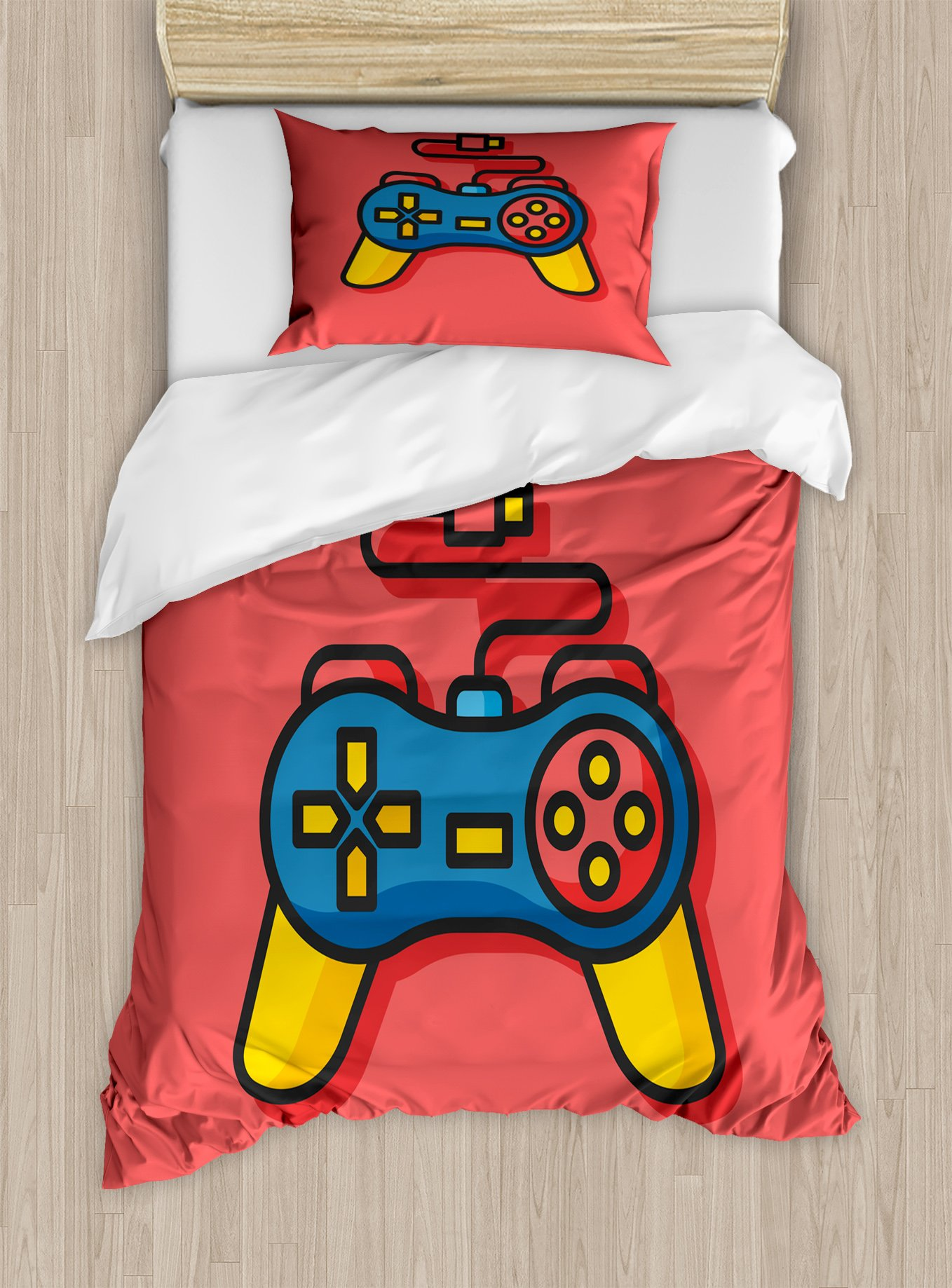 Lunarable Gamer Twin Size Duvet Cover Set, Old School Colorful Videogame Controller with Minimalist Style D-Pad and Triggers, Decorative 2 Piece Bedding Set with 1 Pillow Sham, Multicolor