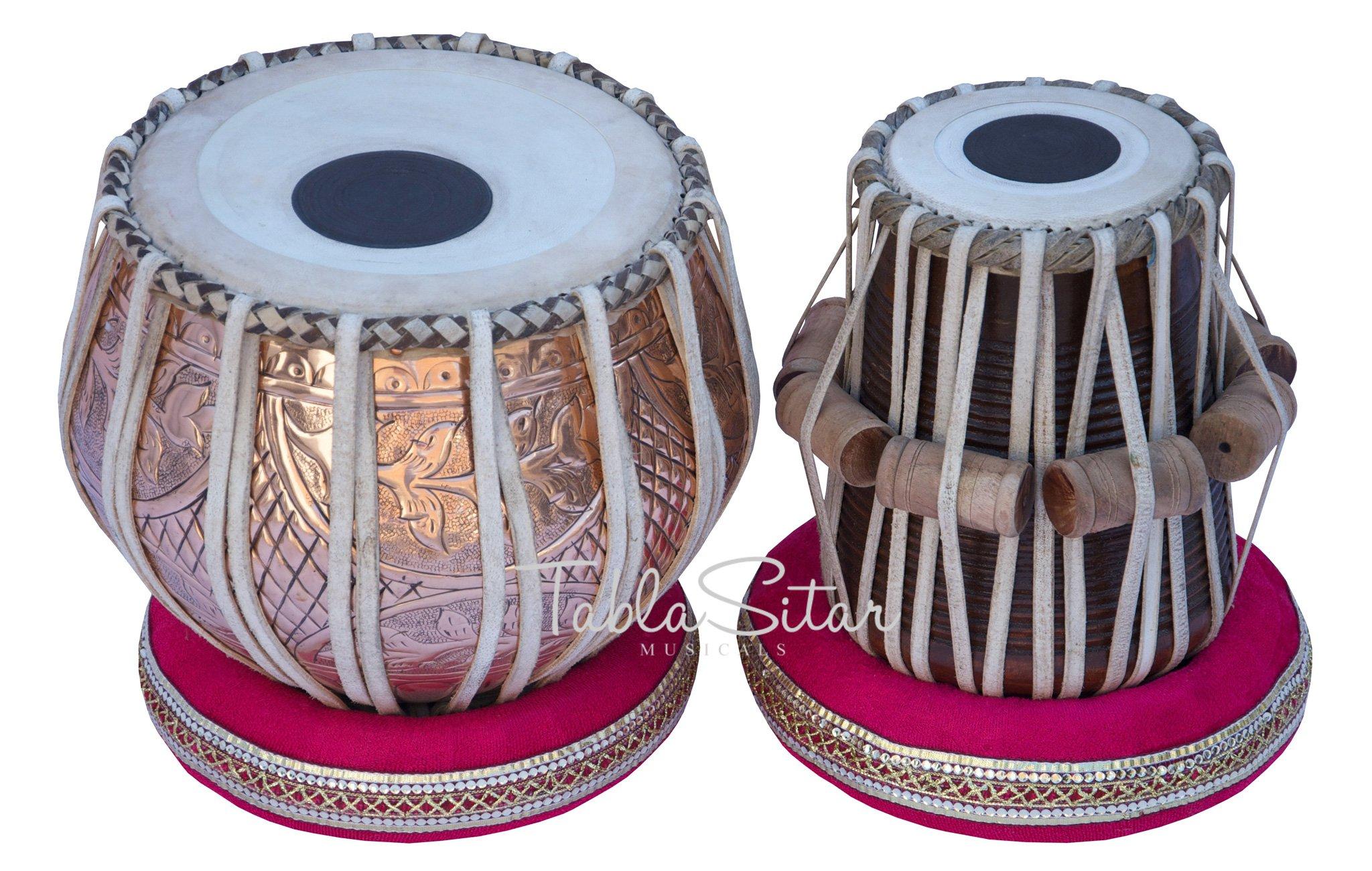 Tabla Drum Set by Maharaja Musicals, Professional, 3.5 Kg Copper Bayan - Designer Carving, Sheesham Tabla Dayan, Padded Bag, Book, Hammer, Cushions, Cover, Tabla Musical Instrument (PDI-CJH) by Maharaja Musicals (Image #2)
