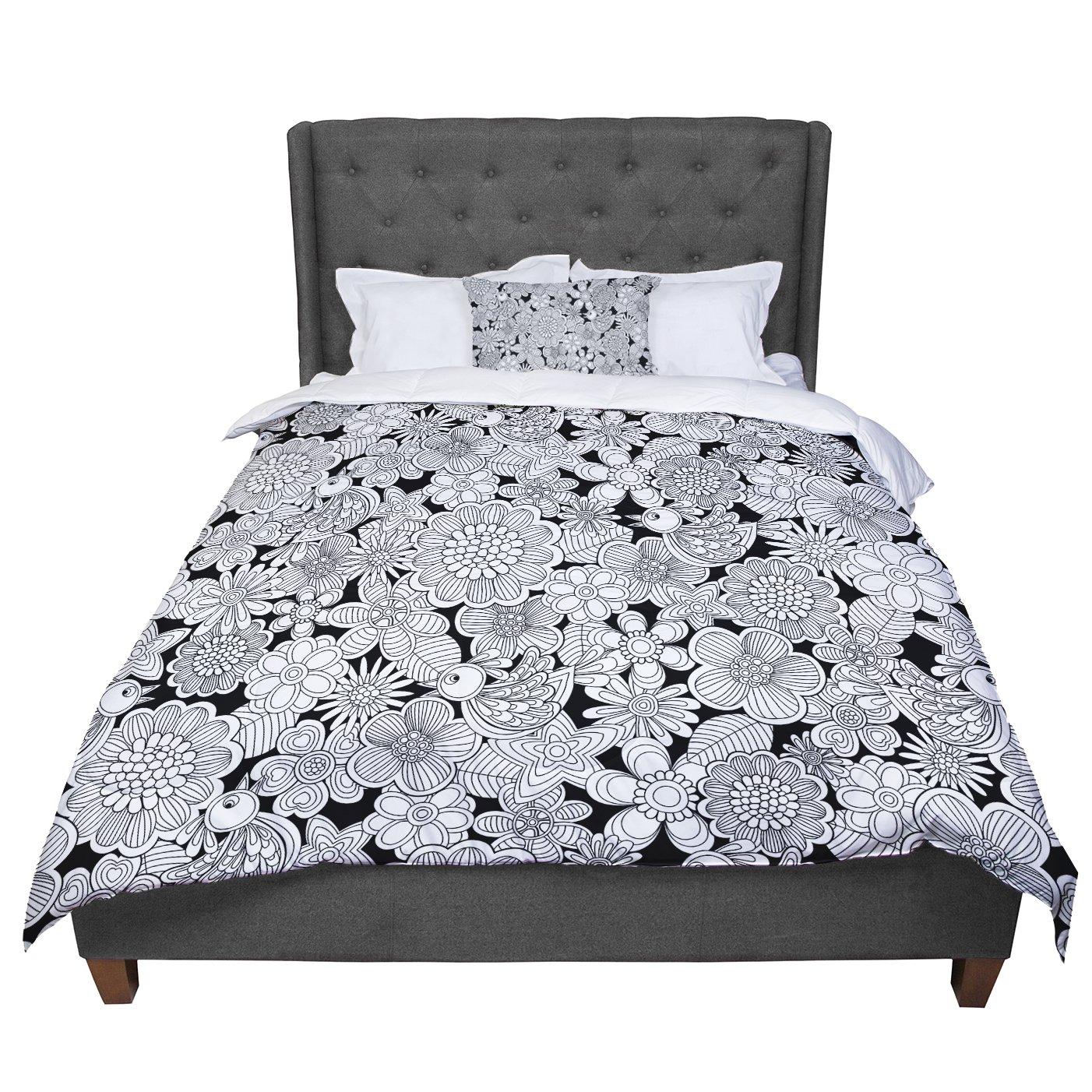 KESS InHouse Julia Grifol Welcome White Birds Black Floral Twin Comforter 68 X 88