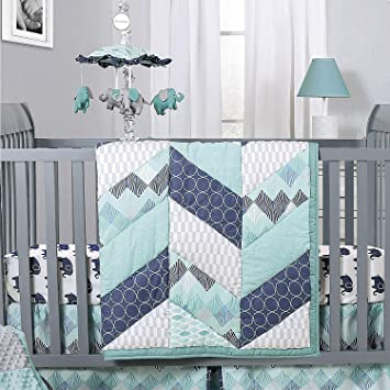 Nursery Bedding Sets Boy.Mosaic Elephant And Geometric 5 Piece Baby Boy Crib Bedding Sets