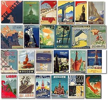 Pegatinas de Viaje Estilo Vintage de la Unión Soviética USSR - Retro Paquete DE 24 Pegatinas de Viaje para Maleta: Amazon.es: Coche y moto