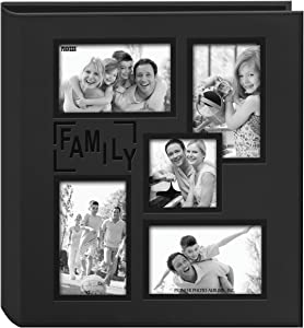 """Pioneer Sewn Embossed Collage Frame 5-Up Photo Album 12""""X12"""" -Family"""