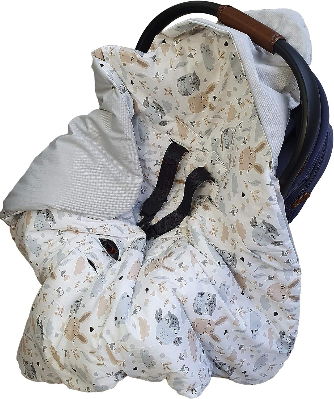 Babydecke Einschlagdecke 90x90 cm Velvet Decke Baby Kapuze f/ür Kinderwagen Buggy Babyschale Autositz Herbst Winter