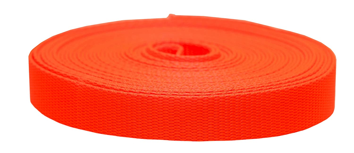 Hot orange 1\ Hot orange 1\ Strapworks colord Flat Nylon Webbing Strap For Arts And Crafts, Dog Leashes, Outdoor Activities 1 Inch