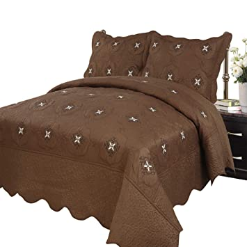 Marcielo 3 Piece Fully Quilted Embroidery Quilts Bedspreads Bed Coverlets Cover Set Cal King Size Coffee Emma Oversize Brown