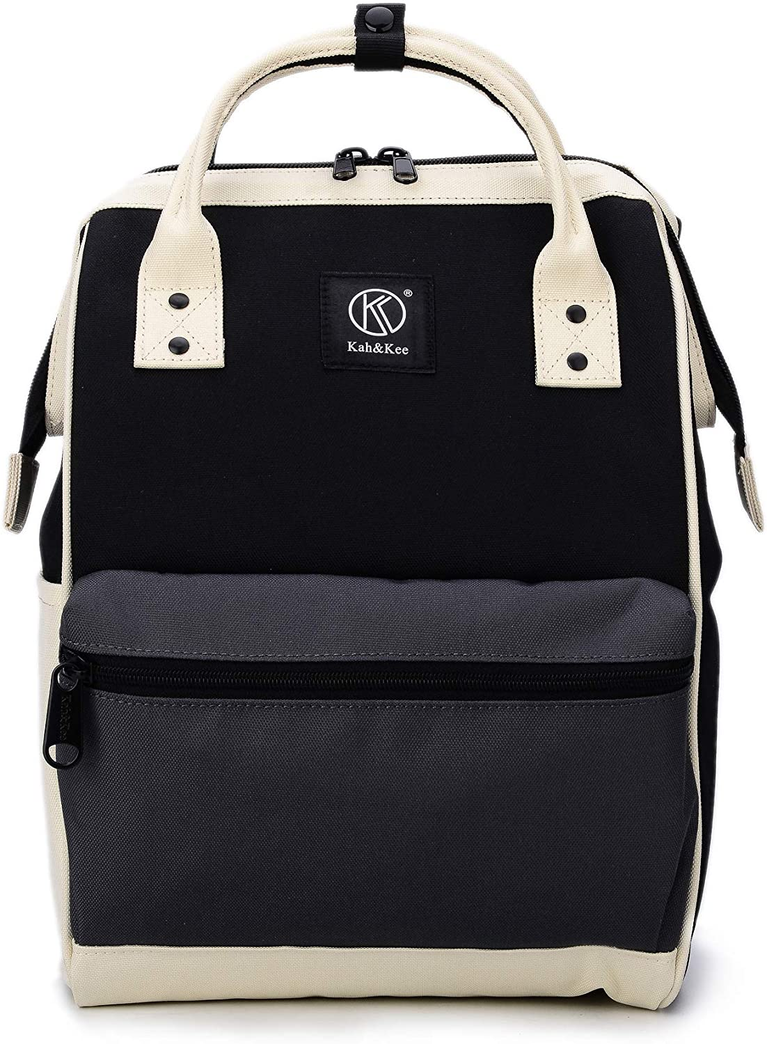 Kah&Kee Polyester Travel Backpack Functional Anti-theft School Laptop for Women Men (Black/Grey, Small)